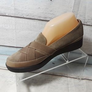 Donald J. Pliner Shoes - DONALD J Pliner Tan Brown Low Wedge Slip-On Shoe 8